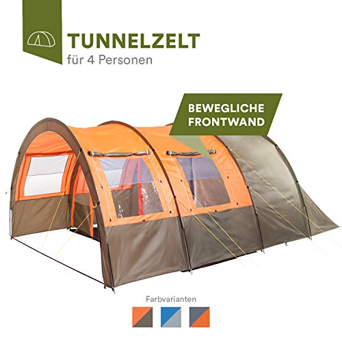 Photo of Skandika Kemi family Tunnel Tent with Moveable Front Wall, 2 Sleeping Cabins and a 3000 mm Water Column, Olive/Orange, 4 Person/Man