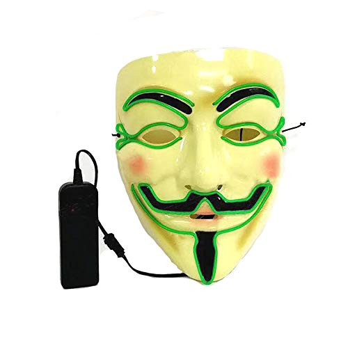 Light Up V vendetta masker Fancy Dress Plezier voor evenementen en feesten Plezier Halloween Party Dress Up Cosplay