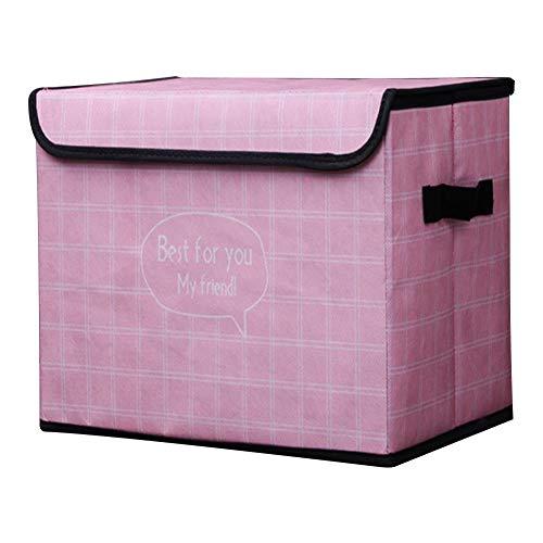 Aimili Caja de almacenamiento no tejida con tapa, caja de almacenamiento plegable portátil, almacenamiento de artículos para el hogar, 25 x 38 x 25 cm, rejilla de polvo