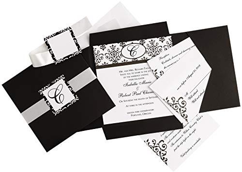 Simplicity Black and White Scroll Wedding Invitation Kit, 25pc, 6'' W x 6'' H -