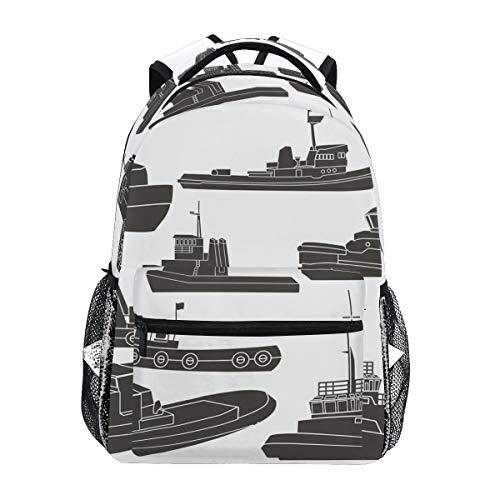 Tugboat Clipart Mochila Escolar de Gran Capacidad, de Lona, Estilo Casual, para Viajes, para niños, Adultos, Adolescentes, Mujeres, Hombres y Mujeres