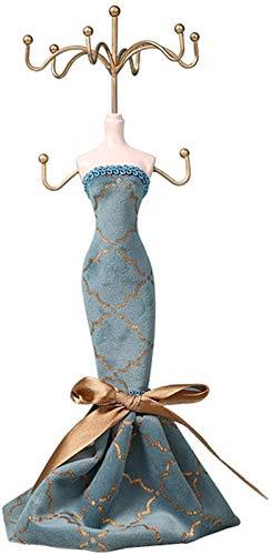 KEEBON Soporte de joyería de la Vendimia Modelo Modelo Humano Soporte Pendientes DE Metal DE METÁLICO Azul Cubierta DE Pantalla DE Pantalla DE Duble DE DUBLIMA, 10,6 Pulgadas de Altura (Color: b)
