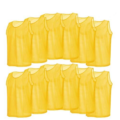 Fsskgxx Trainingswesten aus Mesh, Trainingsweste aus atmungsaktivem 12er-Pack Trikots für Basketball, Fußball, Fußball, Volleyball (gelb)