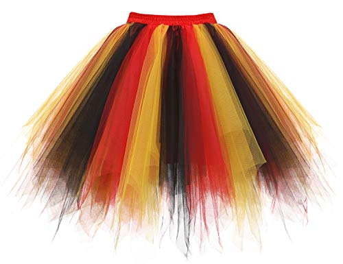 Homrain Mujer Faldas Tul Enaguas Tutu Enagua Underskirt para Rockabilly Vestidos Black-Red-Yellow S