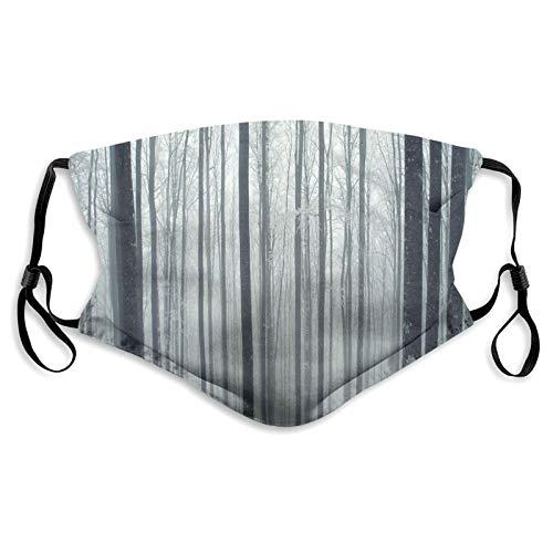Protector bucal y nariz de tela, misterioso bosque, bosque, soledad pacífica, paisaje de la mañana, bandana reutilizable de media cara, funda protectora lavable, longitud ajustable (S)