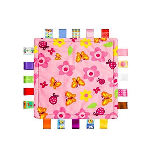 Baby Girl rose Tag Couverture de sécurité - Sécurité en peluche Consolateur Couverture, Super Soft Toy Couverture de sécurité de douche pour bébé