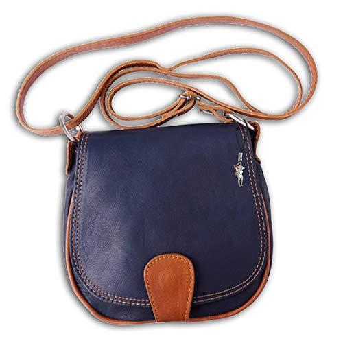 Florence Damen Umhängetasche Abendtasche dunkelblau tan braun Leder OTF103B Leder Umhängetasche