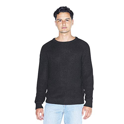 American Apparel Men's Fisherman's Long-Sleeve Pullover Knit Sweater, black, Small