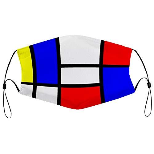 Jack16 Máscara facial reutilizable de moda, pasamontañas Mondrian, lavable al aire libre, bufanda completa con 2 filtros para hombres y mujeres