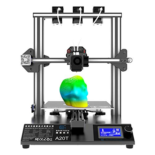 GIANTARM Geeetech A20T Mix-Color con Tres extrusoras, Base de construcción integrada, función de reanudación de Pausa, Montaje rápido, 250 * 250 * 250 mm³,Impresora 3D.