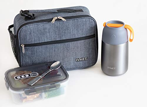 IVMET 3-Piece Lunch Bag Kit Insulated Bento Lunch Box Food Jar Vacuum Stainless Steel thermos with Spoon Leak Proof Hot Cold for Kids Adults School Office Picnic Travel Outdoors Grey 24 oz  730 ml