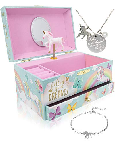 Unicorn Musical Jewelry Box for Girls - Unicorn Jewelry Set Included - 3 Unicorns Gifts for Girls makes ideal Unicorn Bedroom Decor or Birthday Gifts for Girls