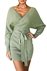 Features:elegant midi dress, V-neck,long sleeves, wrap crossover front design,soft stretch fabric. Very sexy club party dress designed with elastic waist, it hugs your curves in all the right ways and perfectly to show your sexy curves Sweater Dress:...
