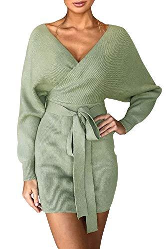 Pulloverkleid Damen Kleider Elegant Strickkleid V-Ausschnitt Langarm Tunika Kleid Minikleid Mit Gürtel (Grün, M)