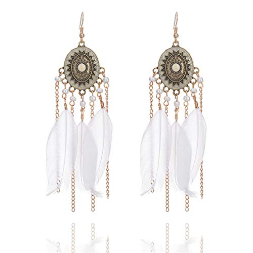 YAZILIND plumas largas de las mujeres pendientes retro ethinc estilo borla colgante gota pendiente oreja joyería (beige)