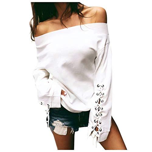 Frashing Damen Pullover Elegant Strickpullover Strickpulli Frauen Schulterfreies Tunika Tops Carmen Bluse Lace Up Langarm Sweatshirt Pullover Shirt Sweater Sweatshirt Elegant Oberteile
