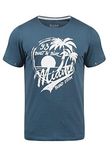 Blend Perry Herren T-Shirt Kurzarm Shirt Mit Print Und Rundhalsausschnitt, Größe:XL, Farbe:Ensign Blue (70260)