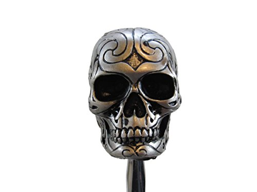 Silver Tone Carved Celtic Zombie Tattoo Skull Head Hot Rod Auto Gear Shift Knob/Decor