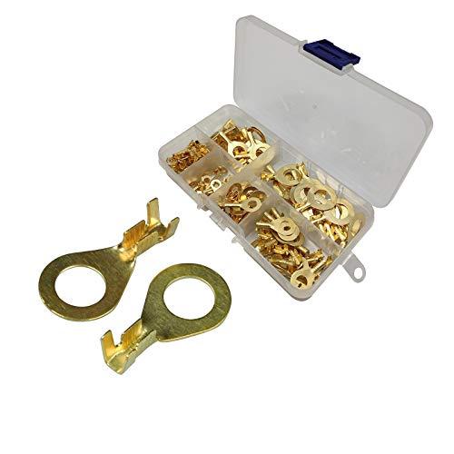 150 Stück Ring kabelschuhe Kabelschuh ring M8 Kabelschuhe flachstecker Messing kabelstecker ring terminals mit Kunststoffbox hervorragende elektrische leitfähigkeit korrosionsbeständigkeit sicherer