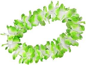 48 Stk Hawaiikette Karneval Dekoration Party Blumen-Kette grün weiss rot 13