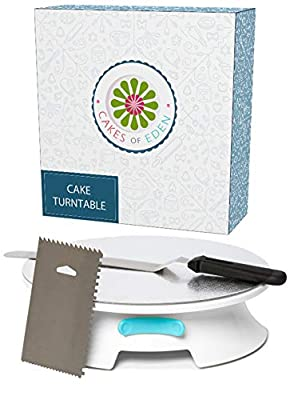 Foreversmooth Cake Turntable Stand- W/break Smoother Rotating Frosting Decorating Supplies Kit W/offset Spatula Set, Icing Bench Scraper, Cake Boards. 12 Inch White Spinner Baking Accessories Tools