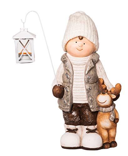 Wichtelstube-Kollektion XXL 42cm Dekofigur mit Laterne Winterkind Weihnachten Deko Figur Garten