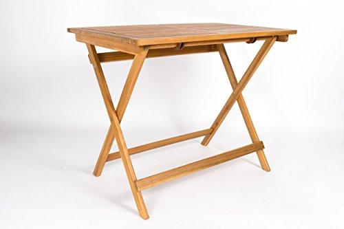 SAM Akazien-Holz Gartentisch, massiver Tisch, 80 x 60 cm, Balkontisch, für Balkon, Terrasse