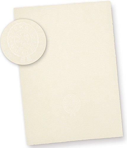 ZERKALL Echt Büttenpapier mit Wasserzeichen A4 (50 Blatt) 95 g/qm, A4 210 x 297 mm Bütten Briefpapier altweiß