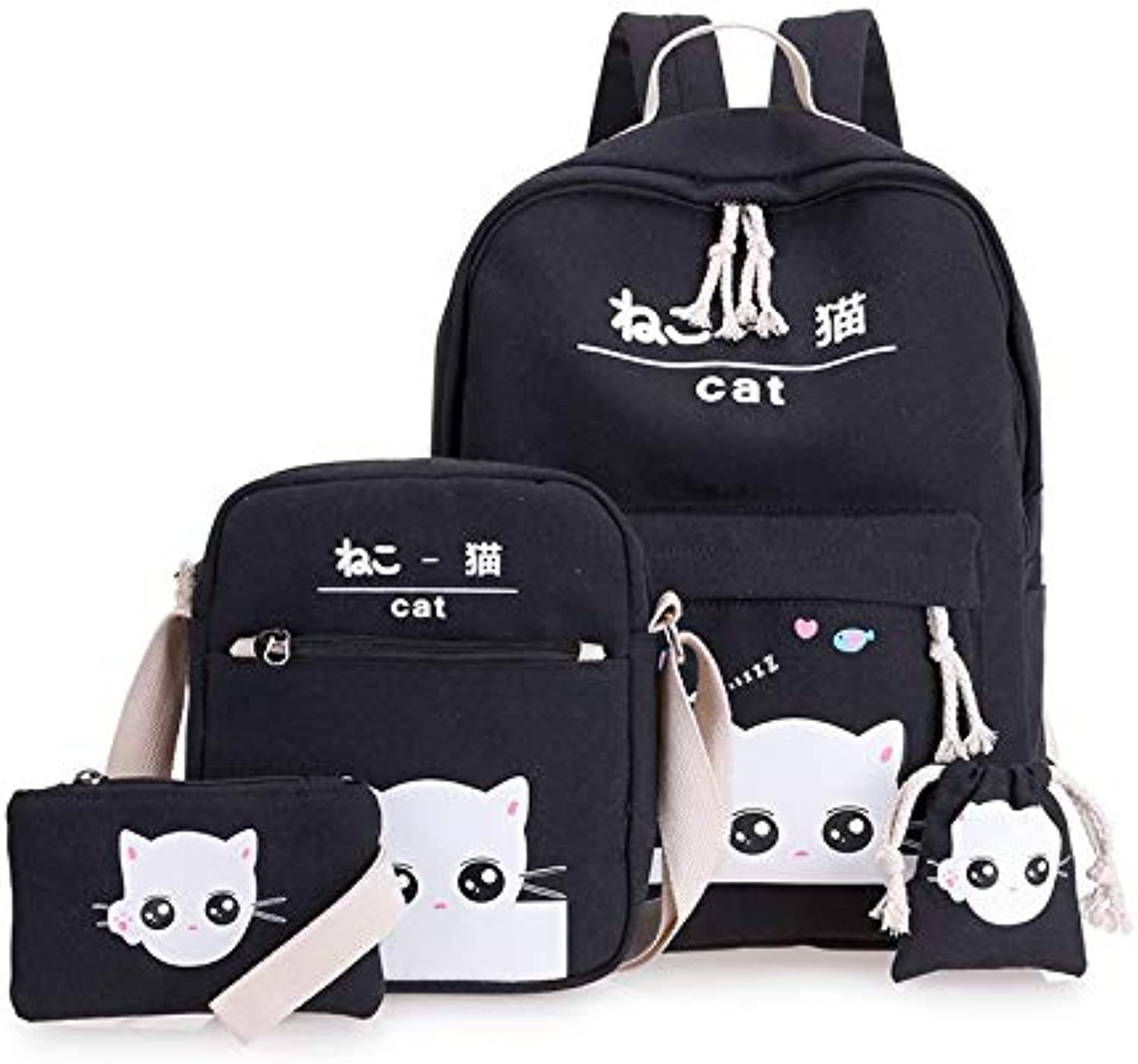 Fsweeth Double shoulder bag female small fresh campus students simple small canvas waterproof backpack,40  31  12CM, black