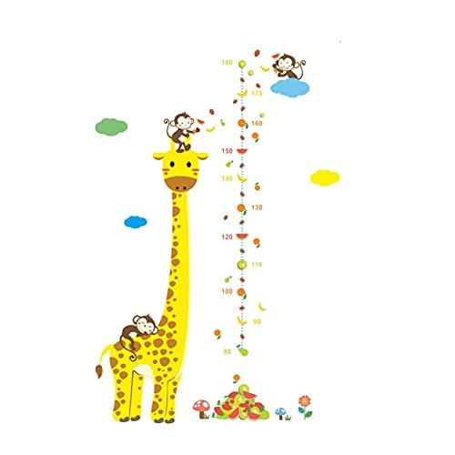HUMINGG Gráficos de Crecimiento Medida de dibujos animados Etiquetas de pared para niños Habitaciones Giraffe Monkey Monkey Tabla de altura Lechacas de la regla de los calcomanías Decoración del hogar