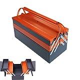 Caja De Herramientas,Caja Metalica Cantilever Metálicas Con Asas De Transporte,Caja Porta-Herramientas Para Almacenamiento De Herramientas,3 Bandejas(Naranja + Gris),530×200×205MM