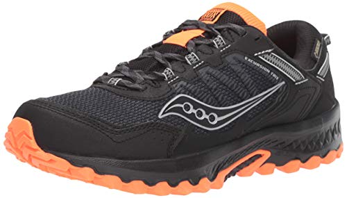 Saucony Men's VERSAFOAM Excursion TR13 GTX Road Running Shoe, Black/Orange, 9.5 M US