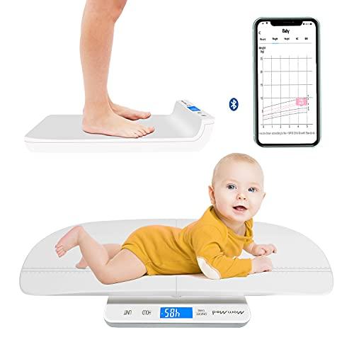 MOMMED Báscula digital Bluetooth para bebé, báscula multifunción para mascotas y bebés, báscula de peso para bebés con aplicación, escala precisa para bebés recién nacidos, mascotas, perro, gato
