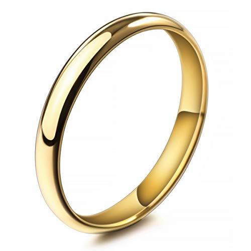 MunkiMix Ancho 3mm Acero Inoxidable Anillo Ring Banda Venda Oro Dorado Tono Alianzas Boda Talla Tamaño 30 Hombre,Mujer