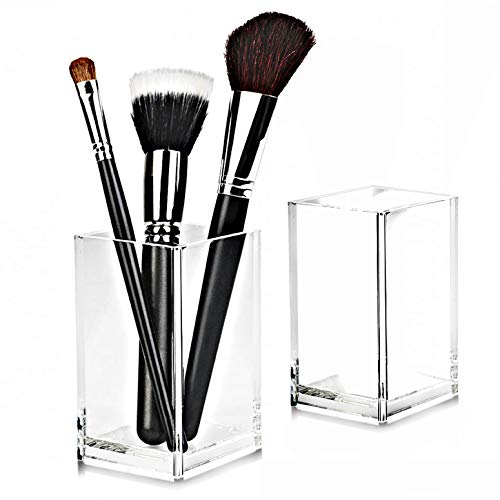 2 Pack Clear Acrylic Pencil Pen Holder Cup,Desk Accessories Holder,Makeup Brush Storage Organizer,Modern Design Desktop Stationery Organizer for Office School Home Supplies,2.6X 2.6X 4 inches
