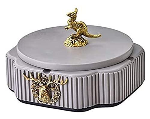 Cenicero para cigarrillos creativo artesanía decoración duradera cerámica con tapa de coche al aire libre hogar mesa de café oficina oficina de escritorio manija oro 6,29 pulgadas interior ceniza band