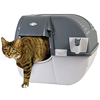 Omega Paw Easy Fill Roll n Clean No Scoop Self Cleaning Rollover Litter Box for Large or Multiple Cat Households Light and Dark Gray