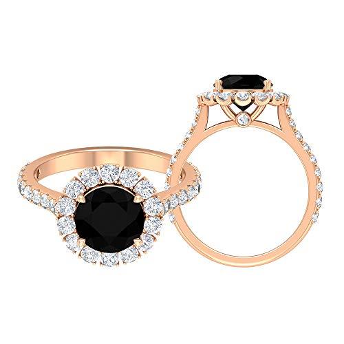 Anillo de compromiso de halo de 3,25 CT con diamante negro creado en laboratorio y detalles de moissanita (8 mm de forma redonda, 14K Oro rosa, Size:EU 66