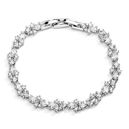 Mariell CZ Wedding Bridal & Prom Tennis Bracelet for Women, Silver Platinum Plated, 7' Plus 3/8' Extender