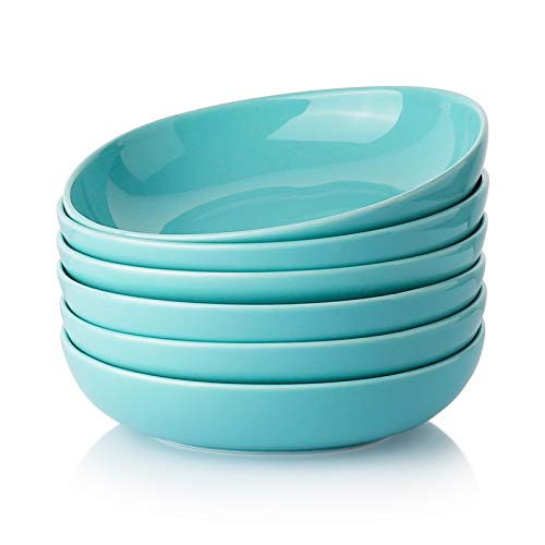 Wide and Shallow Porcelain Salad and Pasta Bowls Set of 6-24 Ounce Microwave and Dishwasher Safe Serving Dishes, Turquoise
