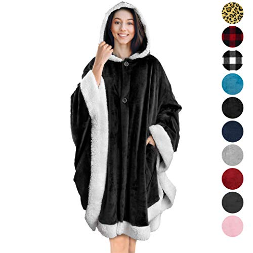 PAVILIA Angel Wrap Hooded Blanket | Poncho Blanket Wrap with Soft Sherpa Fleece | Plush, Warm, Wearable Throw Cape with Pockets for Women Gift (Black)