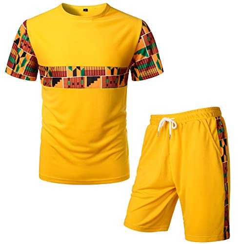 LucMatton Men's African Pattern Printed T-Shirt and Shorts Set Sports Mesh Tracksuit Dashiki Outfits Gold Yellow Medium