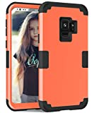 ZHOGTNEG Galaxy s9 case, Three Layer Design Soft Silicone Inner Case and Hard PC Outer Case+Bumper Anti-Scratch Shockproof Heavy Duty Protective Case Cover for Samsung Galaxy s9 (Coral Red/Black)