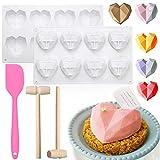 4 PCS Heart Mold, 8 Holes Special 3D Diamond Heart Mold, Chocolate Bar Silicone Heart Mold, Diamond...