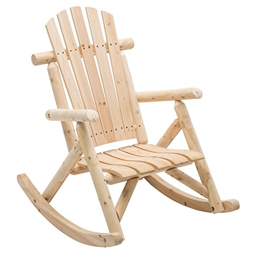 Unfinished Natural Wood Porch Rocker Outdoor Rocking Log Lounge Chair Companion for Garden Balcony...