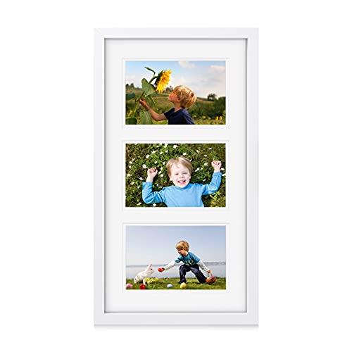 Makitesy Bilderrahmen Collage für 3 Fotos 10x15cm (4x6 Zoll) mit Halterung 3 Aperture Baby Family Multi Fotorahmen für Home Office Wand Tischdekoration Geschenke(Weiß)