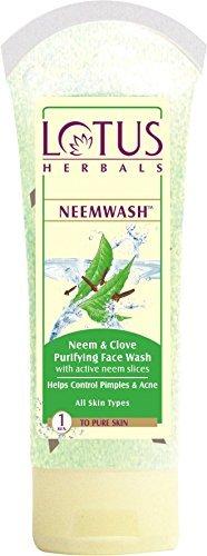 Lotus Herbals Neemwash Neem et de clou de girofle Ultra-Purifiant Nettoyant Visage avec Active tranches Neem, 120g