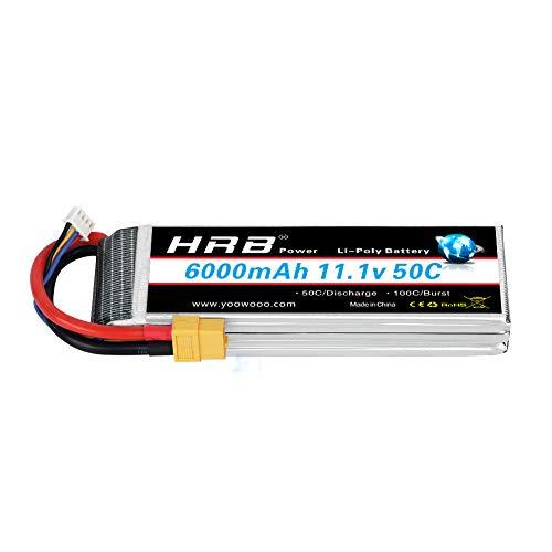 HRB LiPo Batterie 6000mAh 11.1V 50C 3S pour FPV Racing Quadricoptère Racing Drone