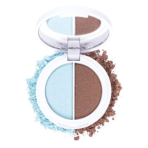 Omorose Cosmetics Eyeshadow Duo Womens Makeup Hypnotic Eyes Shimmer Pressed Duo 2 Color Rich Bright Neutral Metallic Silky Smudge Proof Pigmented Pigment Blendable Eye Beauty Girl Eyeshadow, Aishwarya Blue & Brown