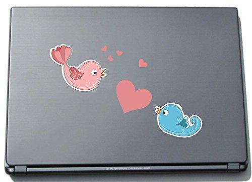 Laptopsticker laptopskin lovely029 - schattige harten - vogels fikken - 150 mm sticker